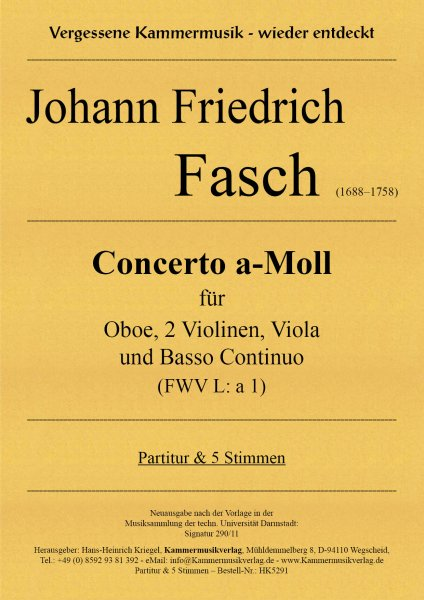 Fasch, Johann Friedrich – Concerto a-Moll (FWV L: a 1)