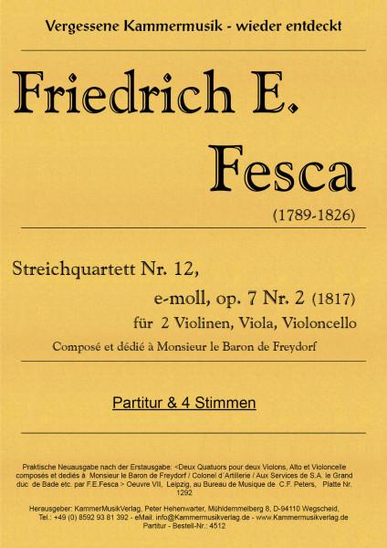 Fesca, Friedrich Ernst – Streichquartett Nr. 12, e-Moll, op. 7-2