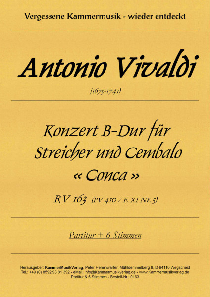 Vivaldi, Antonio – Konzert für Streicher und B.c. « Conca »