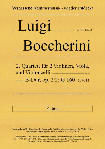 Boccherini, Luigi – 2. Quartett für 2 Violinen, Viola und Violoncello, B-Dur, op. 2-2, G 160