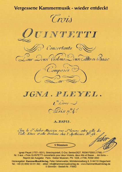 Pleyel, Ignaz – Streichquintett, D-Dur, Benton2627