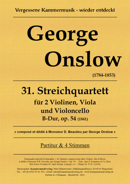 Onslow, George – Streichquartett Nr. 31, B-Dur, op. 62