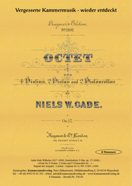 Gade, Niels-Wilhelm – Streichoktett, F-Dur, op. 17