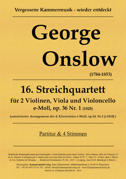 Onslow, George – Streichquartett Nr. 16, e-Moll, op. 36-1