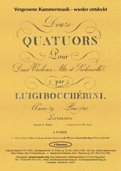 Boccherini, Luigi – 76. Quartett für 2 Violinen, Viola und Violoncello, G-Dur, op. 52, Nr.3, G 234