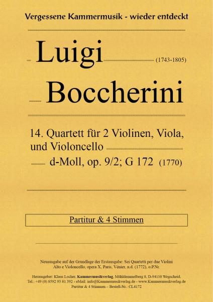 Boccherini, Luigi – 14. Quartett für 2 Violinen, Viola und Violoncello, c-Moll, op. 9, Nr. 2, G 172