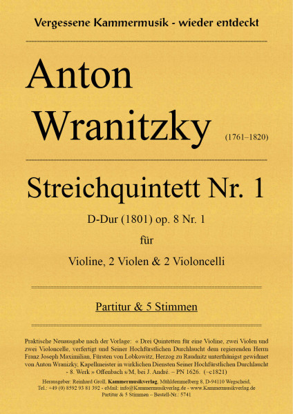 Wranitzki, Anton – Streichquintett Nr. 1, B-Dur, op. 8 Nr. 1 (1801)
