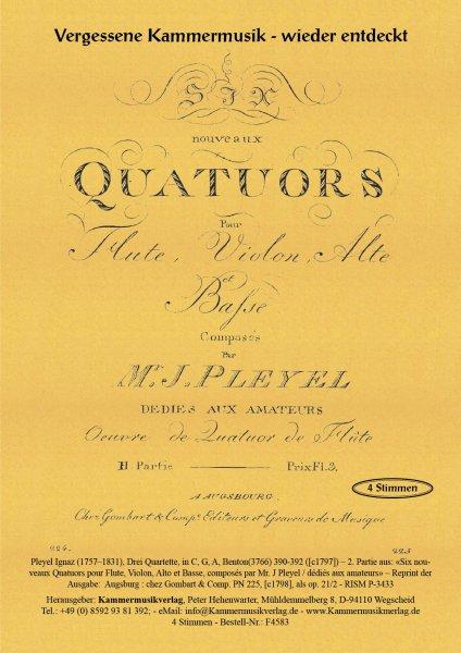 Pleyel, Ignaz – Drei (Flöten-) Quartette, in C, G, A, Benton(3766) 390-392