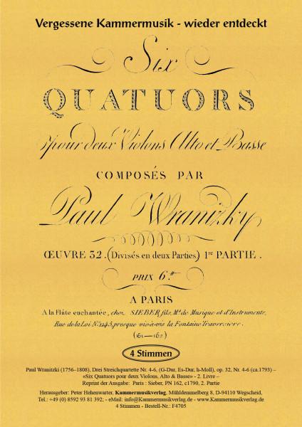 Wranitzki, Paul – Drei Streichquartette op. 32, Nr. 4-6