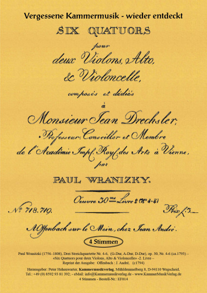 Wranitzki, Paul – Drei Streichquartette op. 30, Nr. 4-6