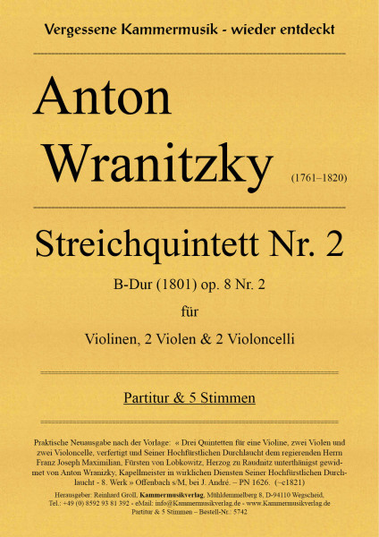 Wranitzki, Anton – Streichquintett Nr. 2, B-Dur, op. 8 Nr.2