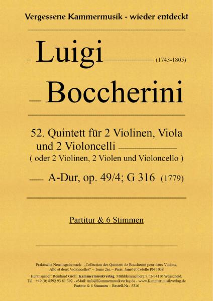 Boccherini, Luigi – 52. Quintett für 2 Violinen, Viola und 2 Violoncelli, A-Dur, op. 29-4, G316