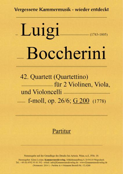Boccherini, Luigi – 42. Quartett für 2 Violinen, Viola und Violoncello, f-moll, op. 26, Nr. 6, G 200