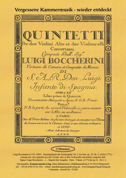 Boccherini, Luigi – 2. Quintett für 2 Violinen, Viola und 2 Violoncelli