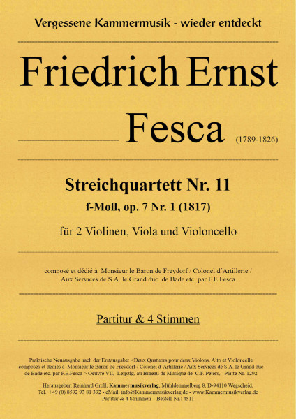 Fesca, Friedrich Ernst – Streichquartett Nr. 11