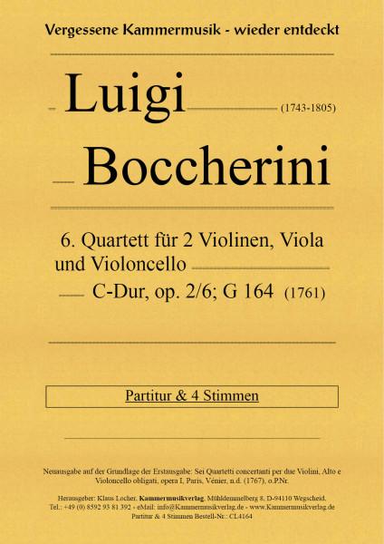 Boccherini, Luigi – 6. Quartett für 2 Violinen, Viola und Violoncello, C-Dur, op. 2, Nr. 6, G 164