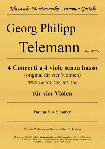 Telemann, Georg Philipp – 4 Concerti a 4 viole senza basso