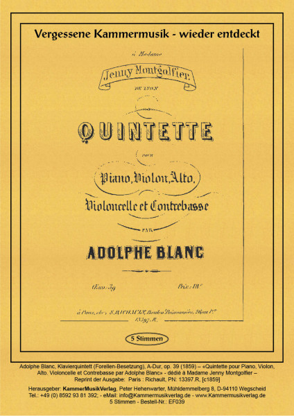Blanc, Adolphe – Klavierquintett (Forellen-Besetzung)