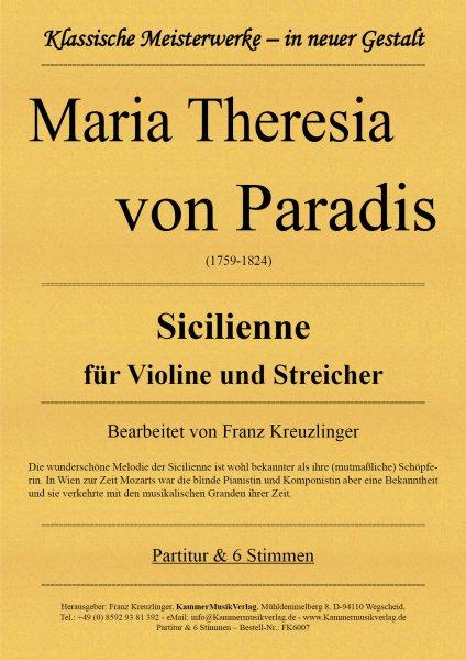 Paradis, Maria Theresia von – Sicilienne für Violine und Streicher