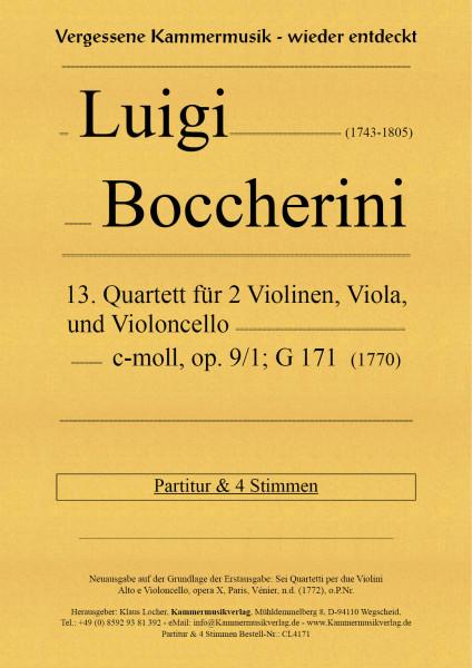 Boccherini, Luigi – 13. Quartett für 2 Violinen, Viola und Violoncello, op. 9, Nr.1, G 171