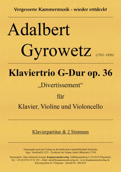 Gyrowetz (Jirovec) Adalbert – Klaviertrio G-Dur op. 36