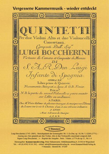 Boccherini, Luigi – 5. Quintett für 2 Violinen, Viola und 2 Violoncelli, Es-Dur, op. 10-5, G 269