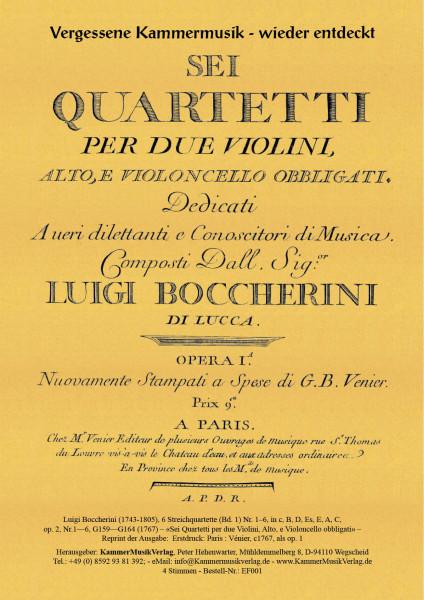 Boccherini, Luigi – 6 Streichquartette (Bd. 1) Nr. 1–6