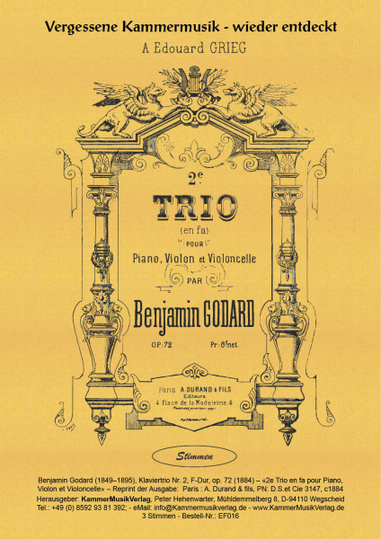 Godard, Benjamin – Klaviertrio Nr. 2, F-Dur, op. 72