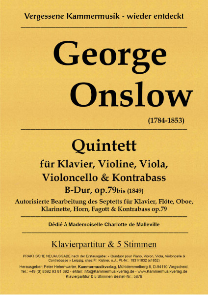 Onslow, George – Klavierquintett (Forellenbesetzung) Nr. 3