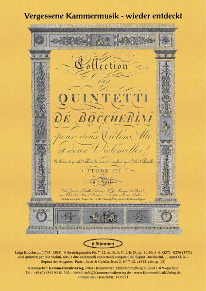 Boccherini, Luigi – 6 Streichquintette Nr. 7–12