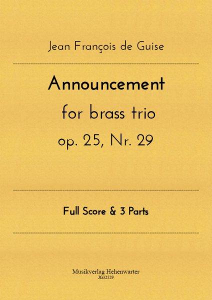 Guise, Jean François de – Announcement for brass trio op. 25, Nr. 29
