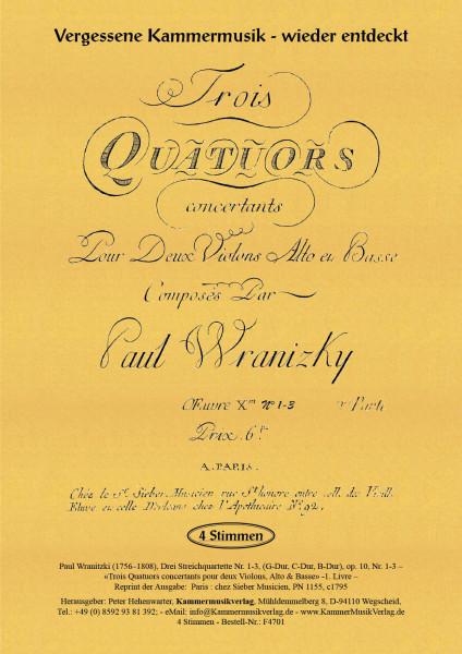 Wranitzki, Paul – Drei Streichquartette op. 10, Nr. 1-3