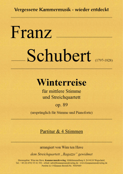 Schubert, Franz – Winterreise für mittlere Stimme und Streichquartett