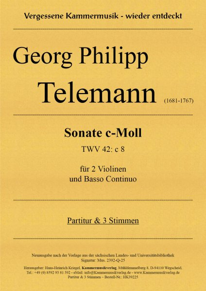 Telemann, Georg Philipp –Sonate c-Moll (TWV 42: c 8)