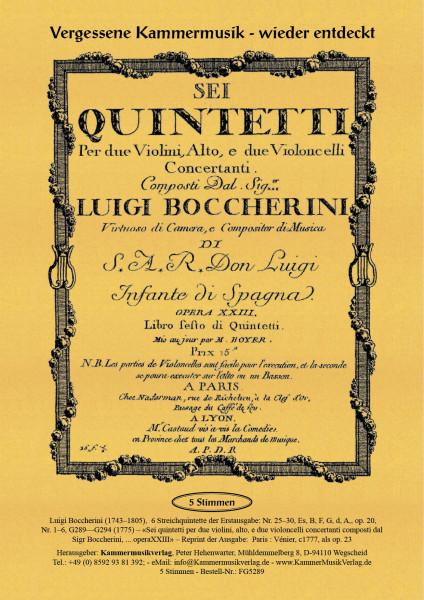 Boccherini, Luigi – 6 Streichquintette op 20, Nr. 1–6