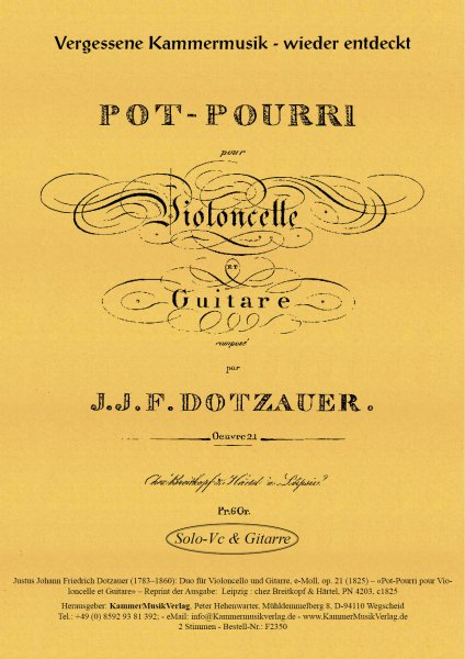 Dotzauer, Justus Johann Friedrich – Duo für Violoncello und Gitarre, e-Moll, op. 21