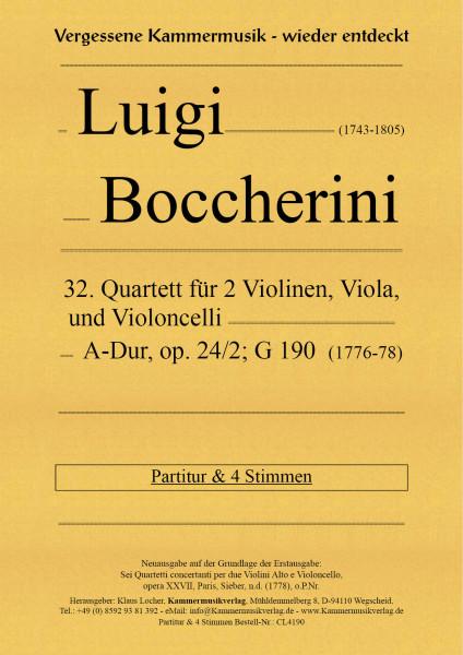 Boccherini, Luigi – 32. Quartett für 2 Violinen, Viola und Violoncello, A-Dur, op. 24, Nr. 2, G 190