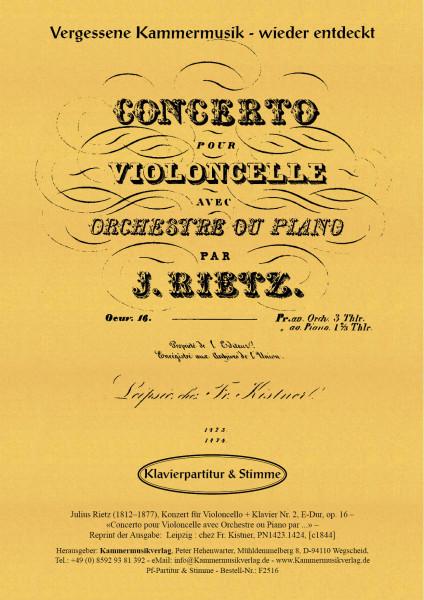 Rietz, Julius – Konzert für Violoncello & Klavier Nr. 2, E-Dur, op. 16
