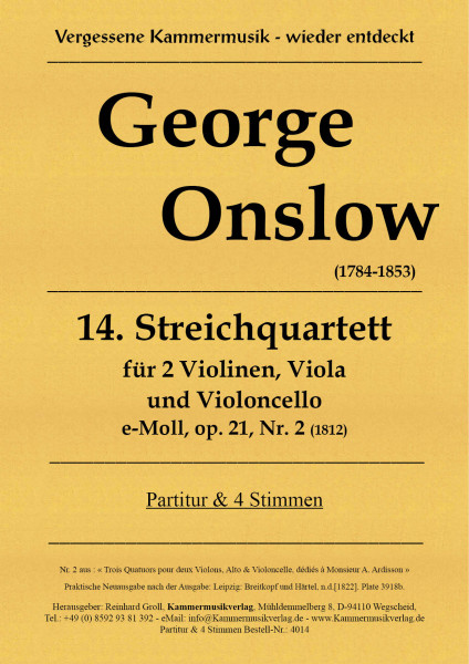 Onslow, George – Streichquartett Nr. 14 in e-Moll, op. 21- 2