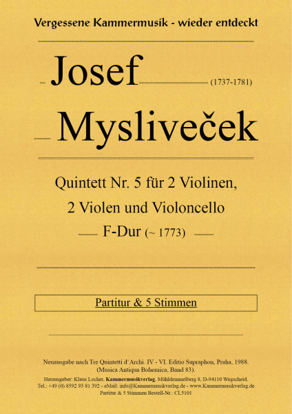 Mysliveček, Josef – Streichquintett Nr. 5, F-Dur