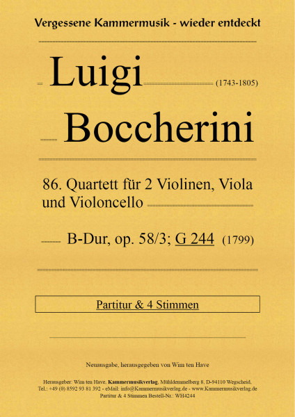 Boccherini, Luigi – 86. Quartett für 2 Violinen, Viola, und Violoncello, B-Dur, op. 58/3; G 244