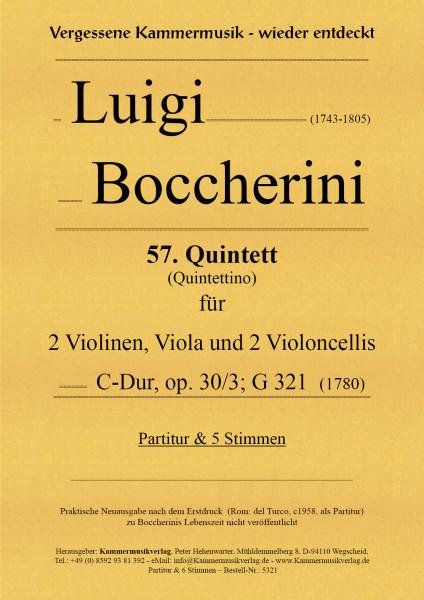Boccherini, Luigi – 57. Quintett für 2 Violinen, Viola und 2 Violoncelli, C-Dur, op. 30-3, G 321