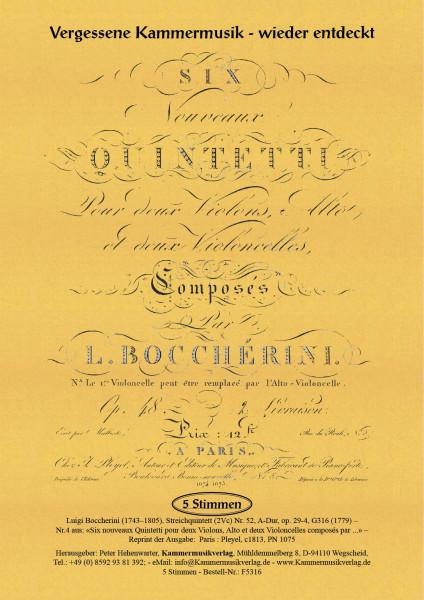 Boccherini, Luigi – 52. Quintett für 2 Violinen, Viola und 2 Violoncelli