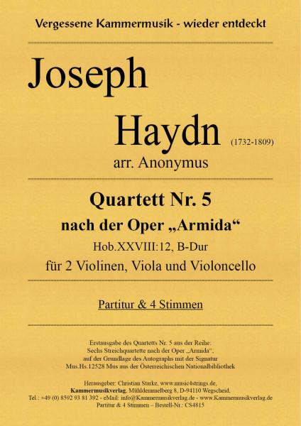 """Haydn, Joseph – Quartett Nr. 5 nach der Oper """"Armida"""" in B-Dur"""