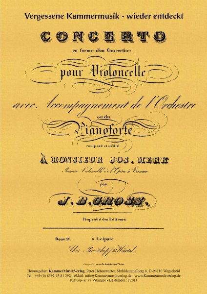 Groß, Johann Benjamin – Concerto für Violoncello & Orchester (Klavier)