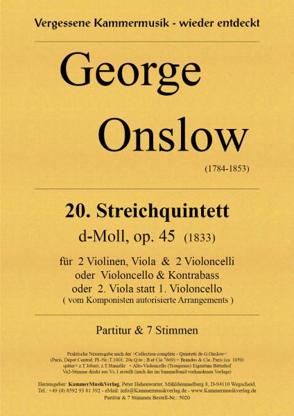 Onslow, George – Streichquintett Nr. 20, d-Moll, op. 45