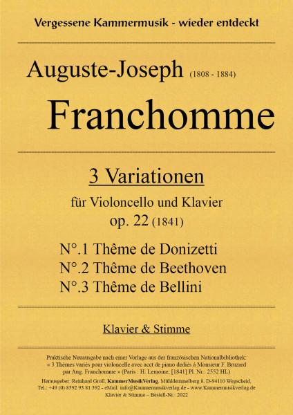 Franchomme, Auguste – 3 Variationen für Violoncello und Klavier, op. 22
