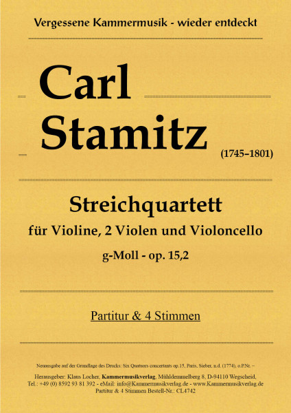 Stamitz, Carl – Streichquartett, g-Moll, op.. 15, 2