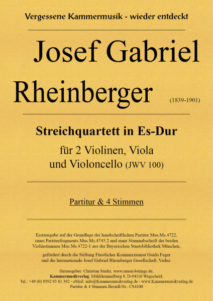 Rheinberger, Josef Gabriel – Streichquartett in Es-Dur (JWV 100)