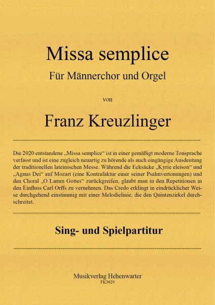 Kreuzlinger Franz – Missa semplice